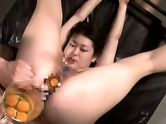 Extreme Japanese AV hard-core sex leads to raw egg butt-plug