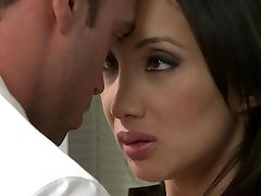 Oriental sweetheart receives plumbed in the office