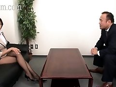 Japanese Pantyhose hottie with big tits gets a cumshot