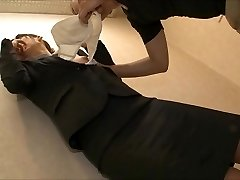 uncertain office lady being lick