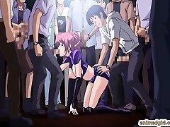 Hottie Asian anime gangbang in the public show