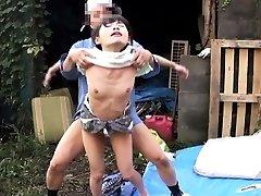 Cocksucking japanese outdoors in threeway banged
