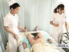 Subtitles CFNM two Japanese nurses handjob with jizz shot