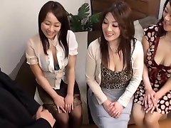 Japanese AV Models super hot mature chicks in CFNM group action