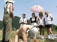Subtitled CFNM outdoor Japanese wad tugging ranch