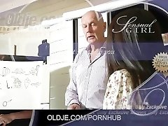 Super-cute Asian student gets an A for old teacher poke and jism swallow