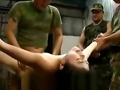 Captured japanese gals manhandled and gangbanged by soldiers