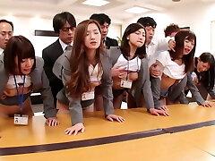 JAV huge group sex office soiree in HD with Subtitles
