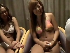 two Japanese girls witnessing two dicks 1 cfnm