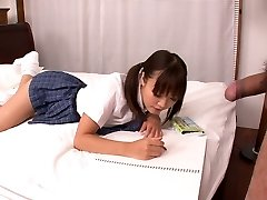 Lusty Japanese college slut Momoka Rin gargles juicy cock of her camera fellow