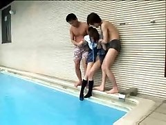 Asian Poolside Gangbang