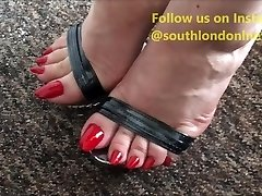 Long Toenails Feet Wank, Feet Drilling, Handjob of Lady Lev