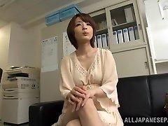 Arousing short-haired Asian model Yukina enjoys three-way