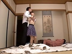 Housewife Yuu Kawakami Fucked Hard While Another Stud Observes