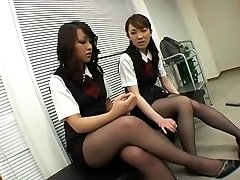 Asian Dark-hued Pantyhose Female Dominance