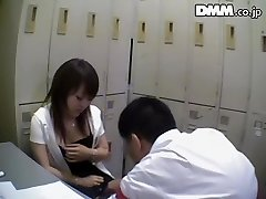 Gross Japanese honey sucks dick in spy cam Japanese sex video