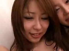 Japanese babes and White guys in group orgy