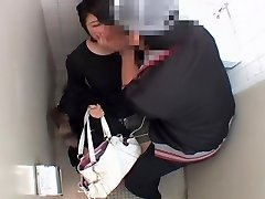 Long vagina romped hard by japanese dick in public toilet