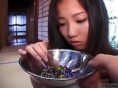 Subtitled Japanese CMNF student twenty marbles injection