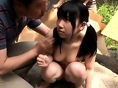 Petite japanese teenager licked out by group