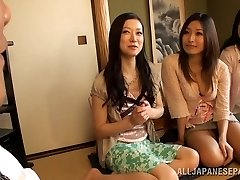 Big-boobed Housewifes Team Up On One Stud And Jerk Him Off