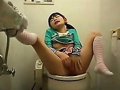 Horny Japanese teen with pigtails finds a place to satisfy