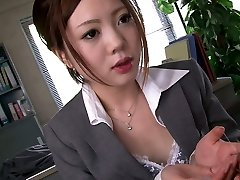 Four horny studs mouth fuck one bashful Asian assistant in the office rock hard