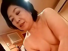 Asian grandma give the handjob