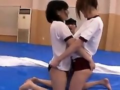 Fantastic Japanese wrestlers get oiled up while they go at it on th