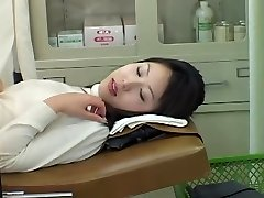 Very lovely Asian babe gets a sloppy Gyno exam with a toy