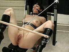Nymph in latex being used by her master