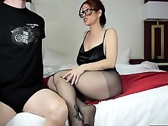 Hot mom footjob and cum-shot
