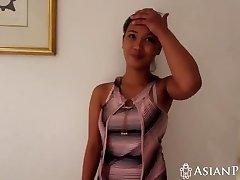 Homemade fucky-fucky video with busty Asian girl