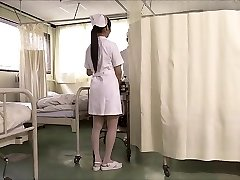 Two japanese nurses suck cock and swap spunk.
