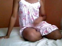 Sri Lankan Teenage Ladyboy Shemale in Sexy Nighty