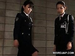 Pink Cigar starved asian police women giving handjob in jail