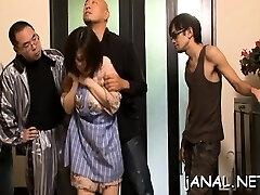Honey gets asian cum on face after ass-fuck dance extreme