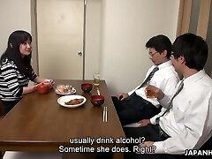 Too weakened hubby falls asleep while his fucking partner drills his wife Risa Kurokawa