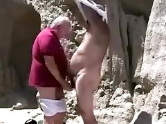 Two mature elder homosexual grandpa playing with each other