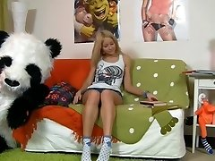 Hawt beauty having joy with her panda otter