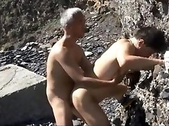 Asian Old and Young Couples Torrid Outdoor Penetrating session by the seaside