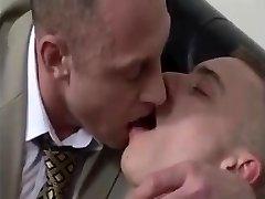 AGED suited BEARDED DADs engulfing RIM FUCK youthful CHAPS backside