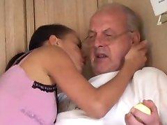 Young brunette licks grandpa all over and fucks him