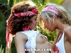 Ultra sensual lesbian licking in public