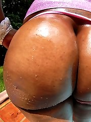 Sexy hot ass black babe gets her purple leggings ripped off then ass fucked by the pool hot fuck pics