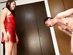 Japanese female dom kicking and ball busting inboots