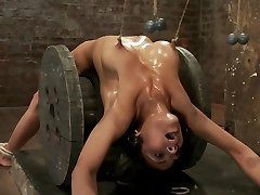 Sexy Brunette Practices Nip Torture, Brutal Crotch Rope And Extreme Bondage. - HogTied