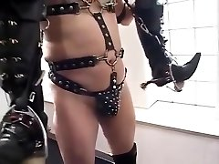 Office lady enjoed riding on a fully equipped horse slave