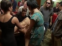 Tied sub assfuck humped in public pool hall