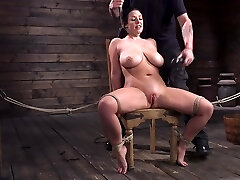 Submissive milf with G-bowl boobs Angela White gets punished in the basement
